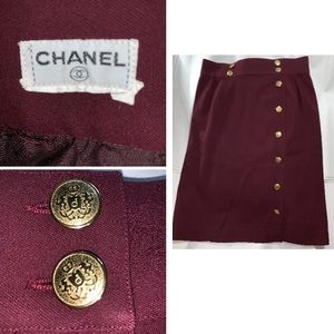 authentic CHANEL size LARGE bordeaux red SKIRT